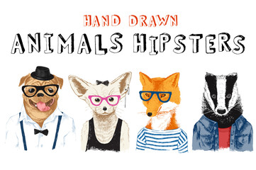 Fototapete - Hand drawn animals hipsters set