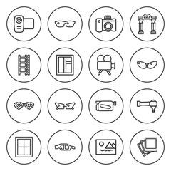 Set of 16 frame outline icons