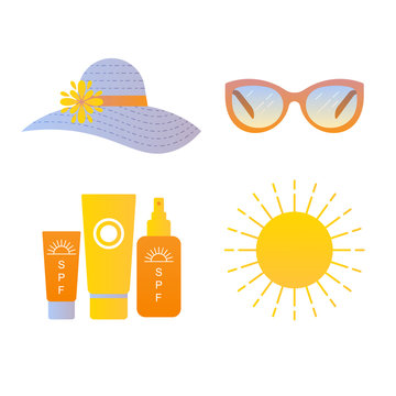 Sun protection icons set