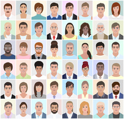 Portraits of different people, work, vector