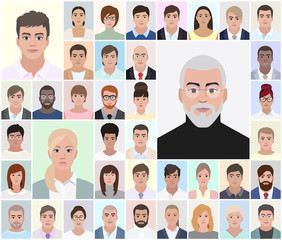 Portraits of different people, choice, vector