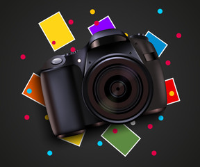 Camera and pictures. Photo shooting background. Modern design template.