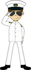 Cute Navy Officer Saluting