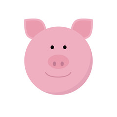 Pig face flat icon.