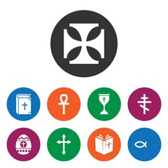 Set of 9 christianity filled icons