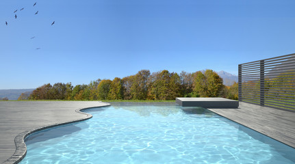 Infinity swimming pool terrace with meadow cliff panorama