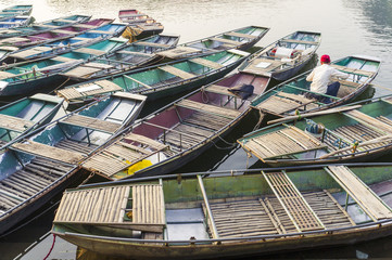 Ninh Binh, Northern Vietnam. Tam Coc excursion on Ngo Dong river.