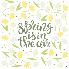 Spring is in the air - greeting card. Lettering. Floral Design. Green leaves, narcissus and snowdrops. Vector illustration.