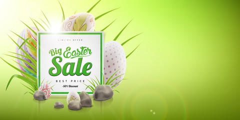Final Easter big sale advertising banner background with decorated eggs