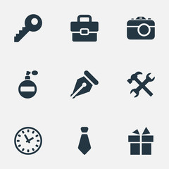 Vector Illustration Set Of Simple Accessories Icons. Elements Ink Pencil, Repair, Digital Camera And Other Synonyms Password, Pen And Bag.