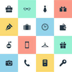 Vector Illustration Set Of Simple Accessories Icons. Elements Mobile Phone, Hanger, Call Button And Other Synonyms Handbag, Nib And Necktie.