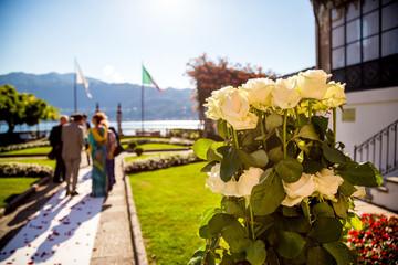 Lake Orta, 19 July 2016. Wedding ceremony outdoor to Villa Bossi in Piedmont, Italy.