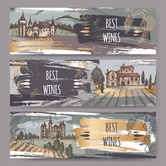 Three color wine label templates with castles, vineyard landscapes, grapevine.