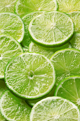 Fresh lime slices. Full frame, top view