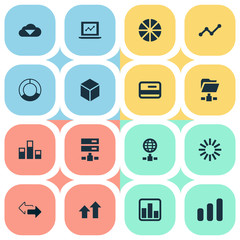 Vector Illustration Set Of Simple Analysis Icons. Elements Presentation, Pie Chart, Growth And Other Synonyms Cube, Network And Statistics.