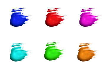 Colored brush strokes on a white background