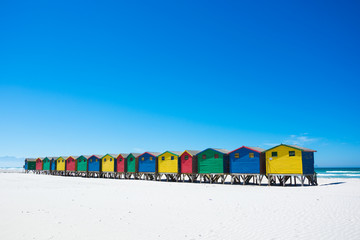 Colourful beach huts at Muizenberg, Cape Town
