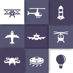 Aircrafts icons set, aviation, airplane, helicopter, drone, biplane, alien spaceship, top view of plane