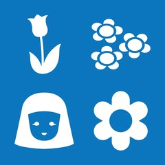 Set of 4 flower filled icons