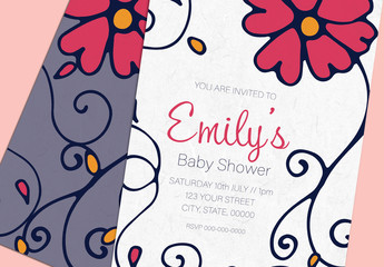 Illustrated Baby Shower Invite Layout 4