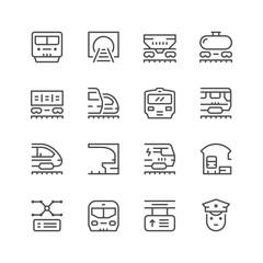 Set line icons of railroad