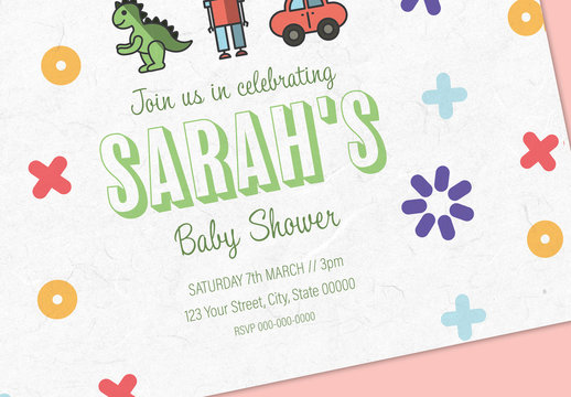 Illustrated Baby Shower Invite Layout 3