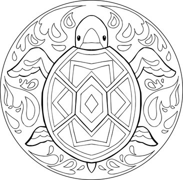 Decorative coloring mandala with turtle in the water.