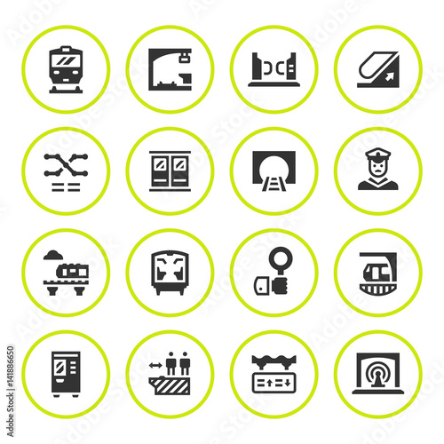 Set Round Icons Of Subway Stock Image And Royalty Free Vector Files
