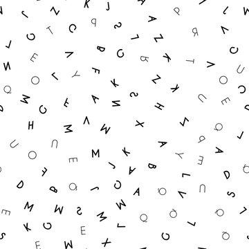Black letter seamless pattern on white background