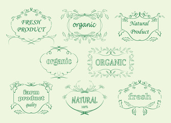 floral labels for organic products - vector