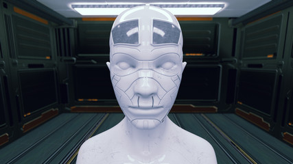 3d rendering. Humanoid head and futuristic room