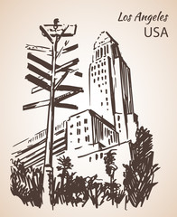 Los Angeles City Hall cityscape sketch.