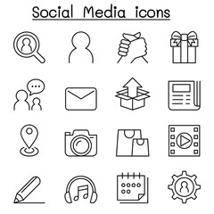 Social media , Social Network icon set in thin line style