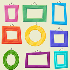 Set of cartoon vector picture frames