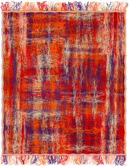 Motley fluffy woven grunge striped rug with fringe