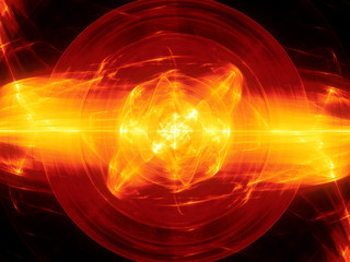 Fiery glowing fusion with plasma force field
