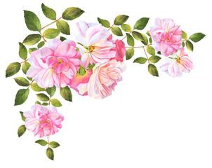 Roses watercolor illustration bouquet
