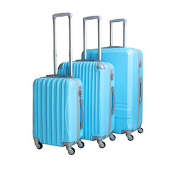 Three suitcases isolated on white background. Polycarbonate suitcases isolated on white. Green suitcases.