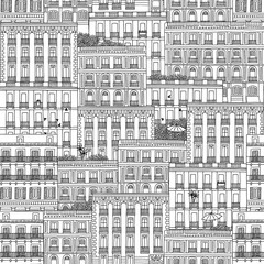 Hand drawn seamless pattern of Spanish style houses