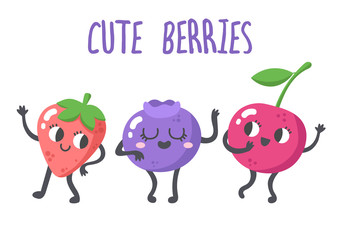 Set of vector berries illustrations. Funny little berries speaking and dancing. Cartoon character style