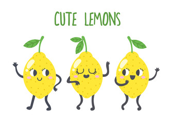 Set of vector lemons illustrations. Funny yellow fruits speaking and dancing. Cartoon character style
