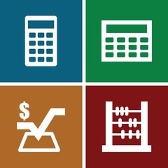 Set of 4 calculation filled icons