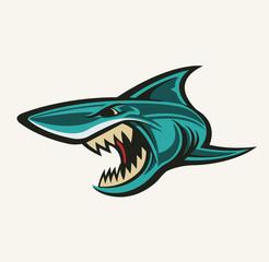 Angry shark logo. Shark mascot. Dangerous shark. Vector stock.