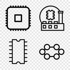 Set of 4 microchip outline icons