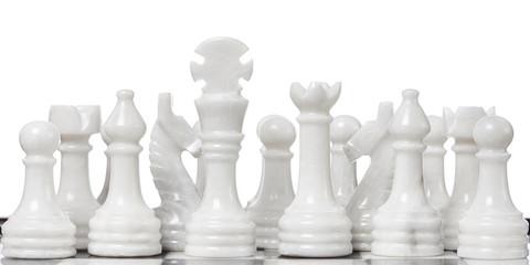 White chessmen on chessboard