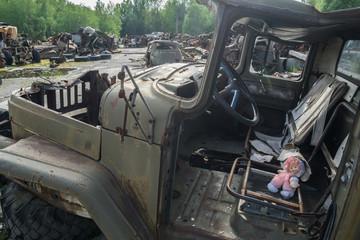 the radioactive cemetery of vehicles, chernobyl, ukraine