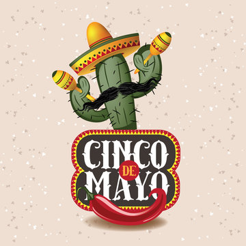 Cinco De Mayo sombrero, chili pepper, cactus and maracas festive design. For celebration of the Mexican holiday on May 5. EPS 10 vector.
