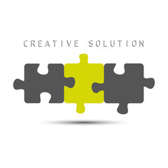 Puzzle icon creative solution isolated on white background