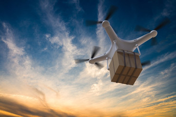 3D rendered illustration of drone flying in the sky and delivering a package. Wall mural