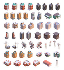 Isometric buildings icons